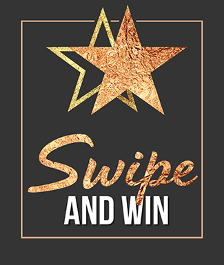 black background with two gold stars and swipe and win text