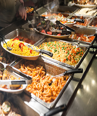 buffet tray with noodles and fried rice
