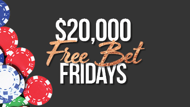 free bet friday logo with black background with poker chips spread out