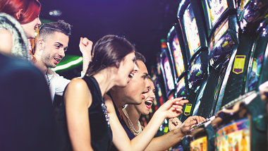 Group at Slot Machine