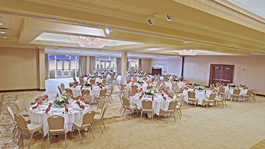 banquet ballroom with set up tables