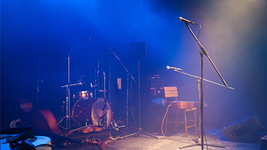 stage set up with instruments